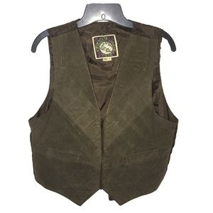 Vintage Learsi Quilted Leather Vest Brown Zip